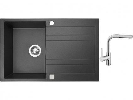 Granitový dřez Sinks GRANDE 800 Granblack + Dřezová baterie Sinks ENIGMA S chrom  + Čistící pasta Sinks na dřezy