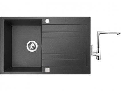 Granitový dřez Sinks GRANDE 800 Granblack + Dřezová baterie Sinks baterie CASPIRA chrom  + Čistící pasta Sinks na dřezy