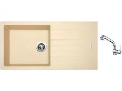 Granitový dřez Sinks PERFECTO 1000 Sahara + Dřezová baterie Sinks MIX 3 S Chrom