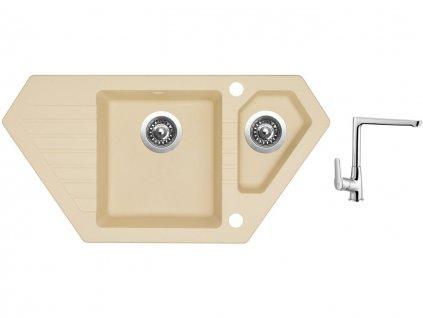 Granitový dřez Sinks BRAVO 850.1 Sahara + Dřezová baterie Sinks baterie CASPIRA chrom  + Čistící pasta Sinks na dřezy