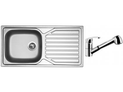 Nerezový dřez Sinks OKIO 1000 XXL V 0,6mm matný + Dřezová baterie Sinks LEGENDA S Chrom