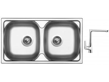 Nerezový dřez Sinks OKIO 780 DUO V 0,5mm matný + Dřezová baterie Sinks baterie CASPIRA chrom  + Čistící pasta Sinks na dřezy