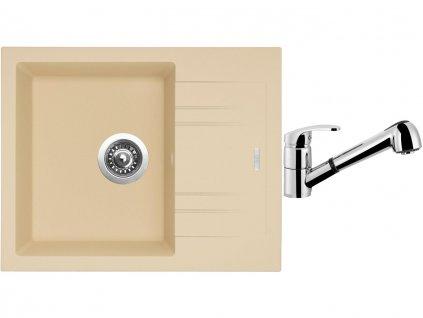 Granitový dřez Sinks LINEA 600 N Sahara + Dřezová baterie Sinks LEGENDA S Chrom  + Čistící pasta Sinks na dřezy