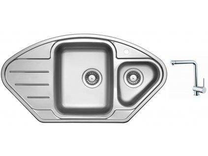 Nerezový dřez Sinks LOTUS 945.1 V 0,8mm leštěný + Dřezová baterie Sinks MIX 3 chrom