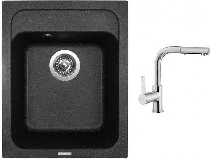 Granitový dřez Sinks CLASSIC 400 Granblack + Dřezová baterie Sinks ENIGMA S chrom  + Čistící pasta Sinks na dřezy