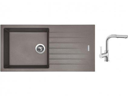 Granitový dřez Sinks PERFECTO 1000 Truffle + Dřezová baterie Sinks ENIGMA S chrom  + Čistící pasta Sinks na dřezy