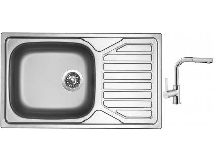 Nerezový dřez Sinks OKIO 860 XXL V 0,6mm matný + Dřezová baterie Sinks ENIGMA S chrom