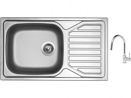 Nerezový dřez Sinks OKIO 860 XXL V 0,6mm matný + Dřezová baterie Sinks MIX 35 P chrom