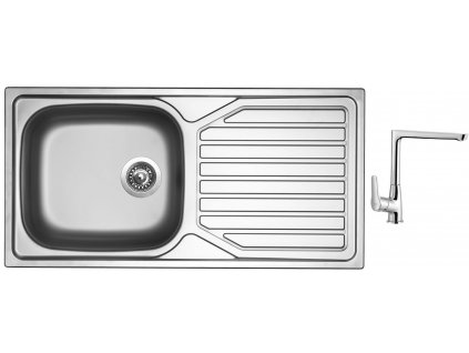 Nerezový dřez Sinks OKIO 1000 XXL V 0,6mm matný + Dřezová baterie Sinks baterie CASPIRA chrom