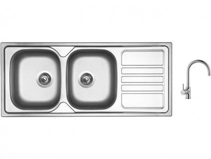 Nerezový dřez Sinks OKIO 1160 DUO V 0,6mm matný + Dřezová baterie Sinks VITALIA chrom