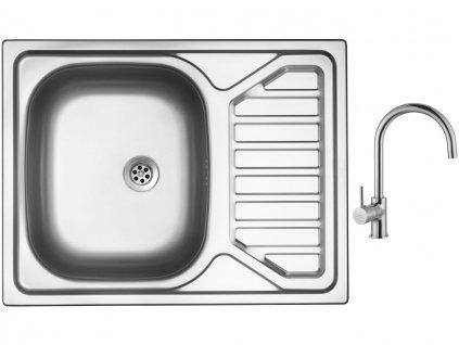 Nerezový dřez Sinks OKIO 650 M 0,6mm matný + Dřezová baterie Sinks VITALIA chrom