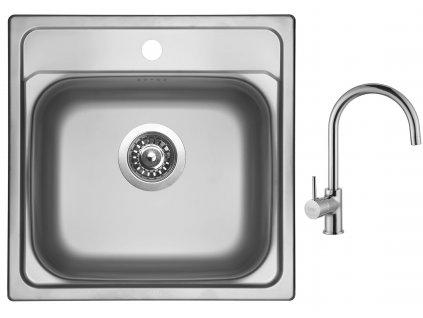 Nerezový dřez Sinks MANAUS 480 V 0,7mm leštěný + Dřezová baterie Sinks VITALIA chrom