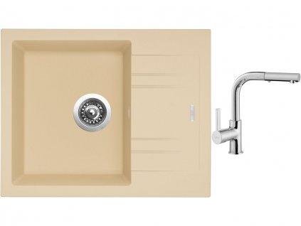 Granitový dřez Sinks LINEA 600 N Sahara + Dřezová baterie Sinks ENIGMA S chrom  + Čistící pasta Sinks na dřezy