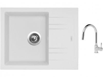 Granitový dřez Sinks LINEA 600 N Milk + Dřezová baterie Sinks MIX 35 P chrom  + Čistící pasta Sinks na dřezy