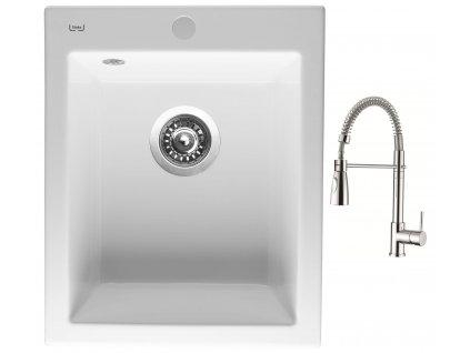 Sinks CERAM 410 Bílá + Dřezová baterie Sinks MIX 35 PROF S chrom