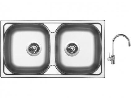 Nerezový dřez Sinks OKIO 780 DUO V 0,5mm leštěný + Dřezová baterie Sinks VITALIA chrom
