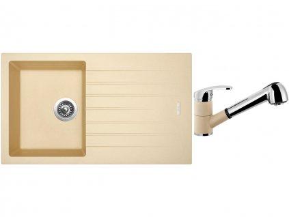 Granitový dřez Sinks PERFECTO 860 Sahara + Dřezová baterie Sinks LEGENDA S Sahara  + Čistící pasta Sinks na dřezy