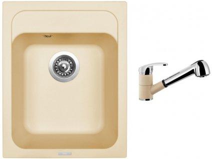 Granitový dřez Sinks CLASSIC 400 Sahara + Dřezová baterie Sinks LEGENDA S Sahara
