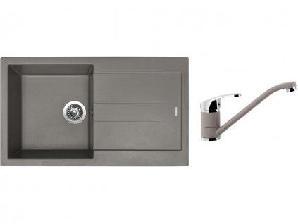 Granitový dřez Sinks AMANDA 860 Truffle + Dřezová baterie Sinks Pronto Truffle  + Čistící pasta Sinks na dřezy