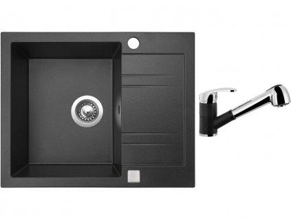 Granitový dřez Sinks LINEA 600 Granblack + Dřezová baterie Sinks LEGENDA S Granblack