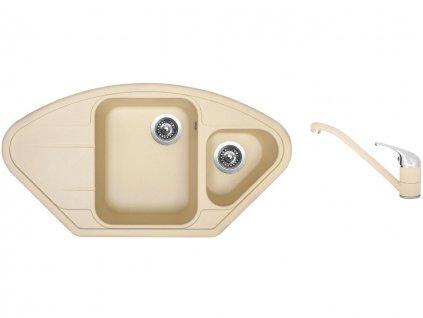 Granitový dřez Sinks LOTUS 960.1 Sahara + Dřezová baterie Sinks CAPRI 4 Sahara