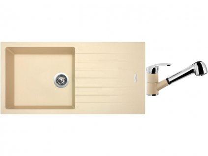 Granitový dřez Sinks PERFECTO 1000 Sahara + Dřezová baterie Sinks LEGENDA S Sahara