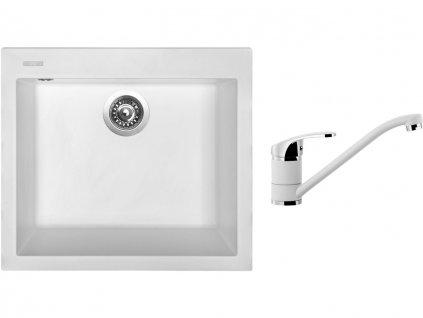 Granitový dřez Sinks CUBE 560 Milk + Dřezová baterie Sinks Pronto Milk  + Čistící pasta Sinks na dřezy