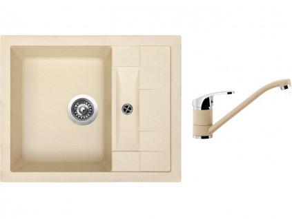 Granitový dřez Sinks CRYSTAL 615 Sahara + Dřezová baterie Sinks PRONTO Sahara  + Čistící pasta Sinks na dřezy