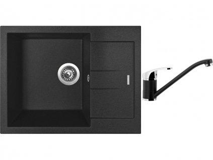 Granitový dřez Sinks AMANDA 650 Metalblack + Dřezová baterie Sinks PRONTO Metalblack