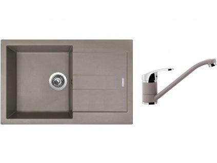Granitový dřez Sinks AMANDA 780 Truffle + Dřezová baterie Sinks Pronto Truffle  + Čistící pasta Sinks na dřezy