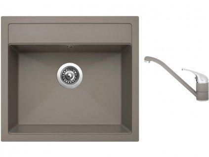 Granitový dřez Sinks SOLO 560 Truffle + Dřezová baterie Sinks CAPRI 4 Truffle  + Čistící pasta Sinks na dřezy