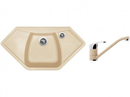 Granitový dřez Sinks NAIKY 980 Sahara + Dřezová baterie Sinks PRONTO Sahara  + Čistící pasta Sinks na dřezy