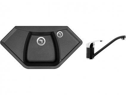 Granitový dřez Sinks NAIKY 980 Metalblack + Dřezová baterie Sinks PRONTO Metalblack