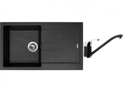 Granitový dřez Sinks AMANDA 860 Metalblack + Dřezová baterie Sinks PRONTO Metalblack  + Čistící pasta Sinks na dřezy