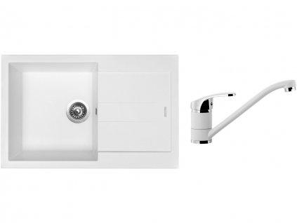 Granitový dřez Sinks AMANDA 780 Milk + Dřezová baterie Sinks Pronto Milk  + Čistící pasta Sinks na dřezy