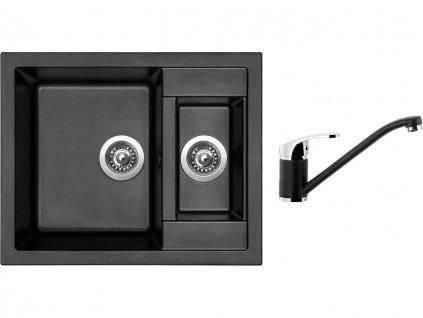 Granitový dřez Sinks CRYSTAL 615.1 Metalblack + Dřezová baterie Sinks PRONTO Metalblack  + Čistící pasta Sinks na dřezy