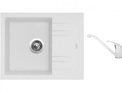 Granitový dřez Sinks LINEA 600 N Milk + Dřezová baterie Sinks CAPRI 4 Milk  + Čistící pasta Sinks na dřezy