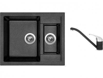 Granitový dřez Sinks CRYSTAL 615.1 Metalblack + Dřezová baterie Sinks CAPRI 4 Metalblack  + Čistící pasta Sinks na dřezy