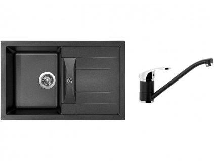 Granitový dřez Sinks CRYSTAL 780 Metalblack + Dřezová baterie Sinks PRONTO Metalblack  + Čistící pasta Sinks na dřezy