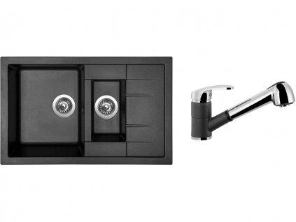 Granitový dřez Sinks CRYSTAL 780.1 Metalblack + Dřezová baterie Sinks LEGENDA S Metalblack  + Čistící pasta Sinks na dřezy