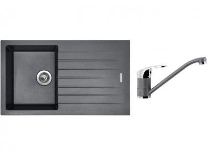 Granitový dřez Sinks PERFECTO 860 Titanium + Dřezová baterie Sinks PRONTO Titanium