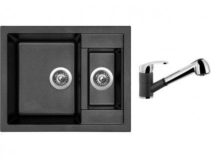 Granitový dřez Sinks CRYSTAL 615.1 Metalblack + Dřezová baterie Sinks LEGENDA S Metalblack  + Čistící pasta Sinks na dřezy