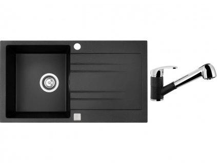 Granitový dřez Sinks RAPID 780 Granblack + Dřezová baterie Sinks LEGENDA S Granblack