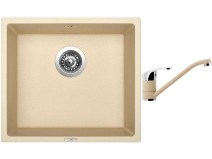 Granitový dřez Sinks FRAME 457 Sahara + Dřezová baterie Sinks PRONTO Sahara