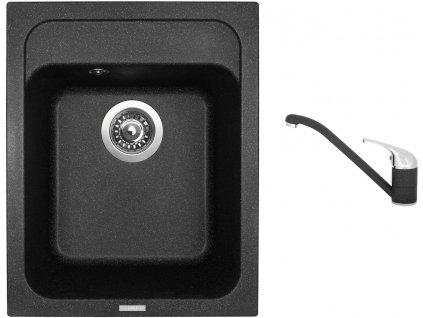 Granitový dřez Sinks CLASSIC 400 Granblack + Dřezová baterie Sinks CAPRI 4 Granblack
