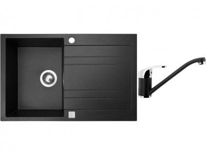 Granitový dřez Sinks GRANDE 800 Metalblack + Dřezová baterie Sinks PRONTO Metalblack  + Čistící pasta Sinks na dřezy