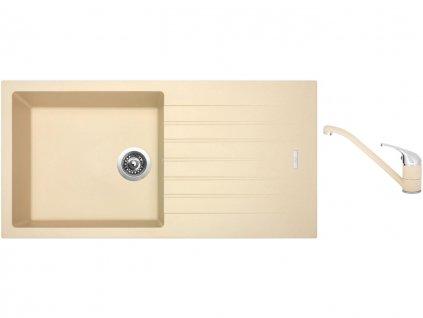 Granitový dřez Sinks PERFECTO 1000 Sahara + Dřezová baterie Sinks CAPRI 4 Sahara