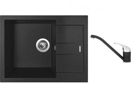 Granitový dřez Sinks AMANDA 650 Metalblack + Dřezová baterie Sinks CAPRI 4 Metalblack