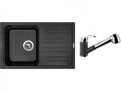Granitový dřez Sinks CLASSIC 740 Metalblack + Dřezová baterie Sinks LEGENDA S Metalblack  + Čistící pasta Sinks na dřezy