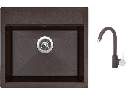 Granitový dřez Sinks SOLO 560 Marone + Dřezová baterie Sinks MIX 35 Marone